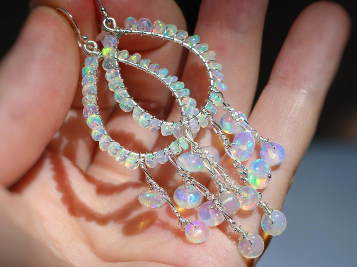The Shooting Star Earrings Ethiopian Opal Chandelier In Sterling Silver