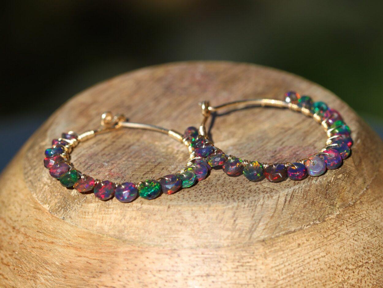 035be430b91e5 The Spell Earrings - Solid Gold 14K Black Opal Wire Wrapped Gemstone Hoop  Earrings
