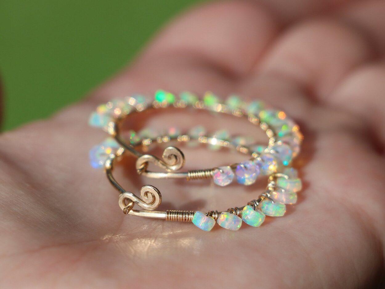 745978ae172db The Elixir Earrings - Solid Gold 14K Ethiopian Opal Wire Wrapped Gemstone  Hoop Earrings
