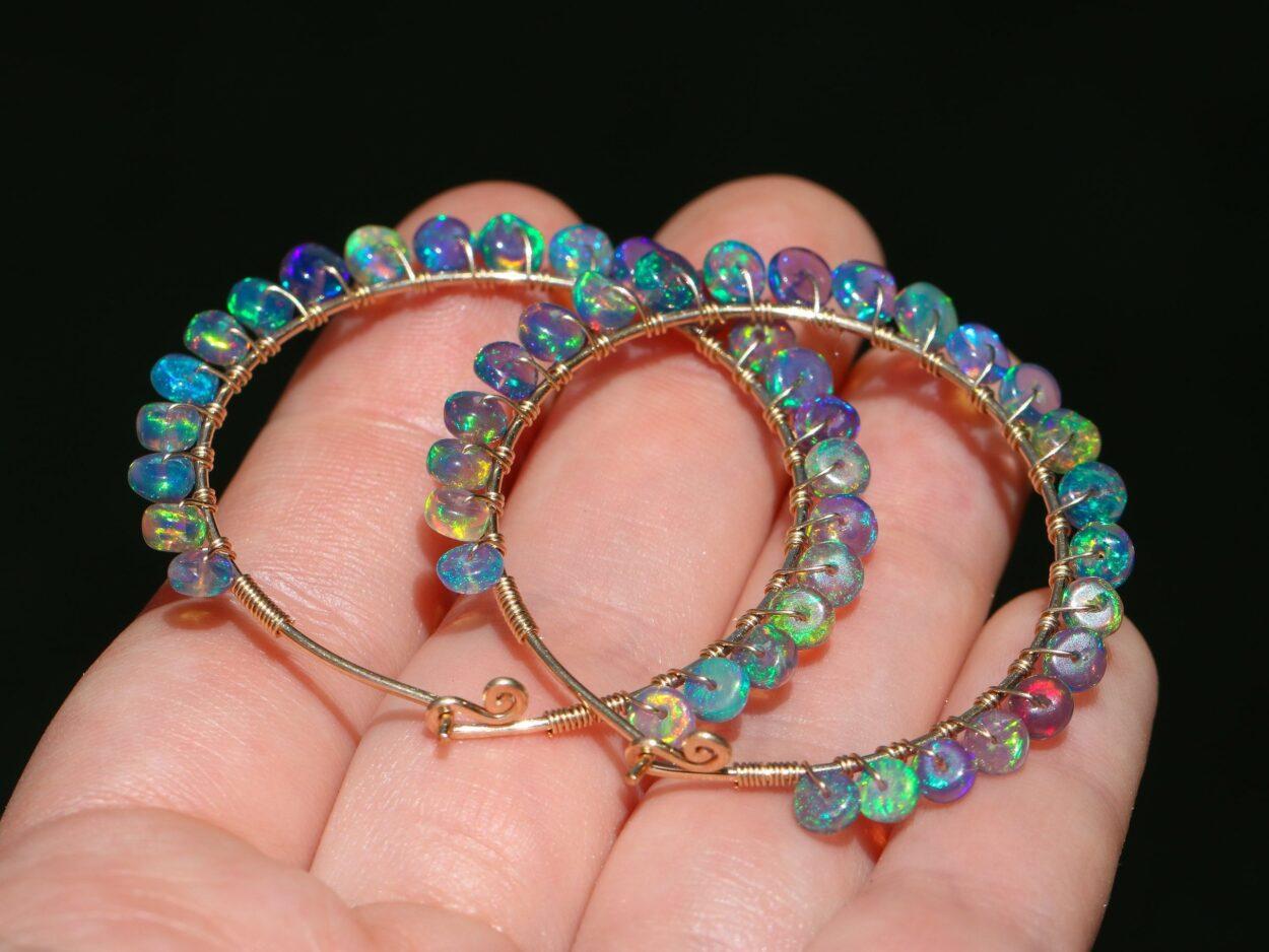 4568ec363d5ac The Magic Potion Earrings - Solid Gold 14K Blue Black Opal Wire Wrapped  Gemstone Hoop Earrings