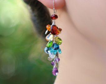 Long Cluster Earrings